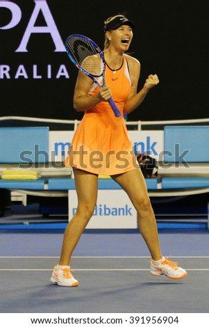 MELBOURNE, AUSTRALIA - JANUARY 24, 2016: Five times Grand Slam champion Maria Sharapova of Russia celebrates victory after round 4 match at Australian Open 2016 at Australian tennis center  - stock photo
