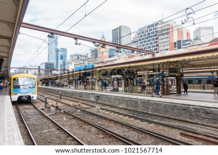 Melbourne, Australia - January 28, 2018: Flinders Railway station in Melbourne CBD. It serves the entire metropolitan rail network.
