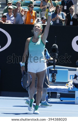 MELBOURNE, AUSTRALIA - JANUARY 25, 2016: Grand Slam Champion Victoria Azarenka of Belarus celebrates victory after round 4 match at Australian Open 2016 at Rod Laver Arena in Melbourne Park - stock photo