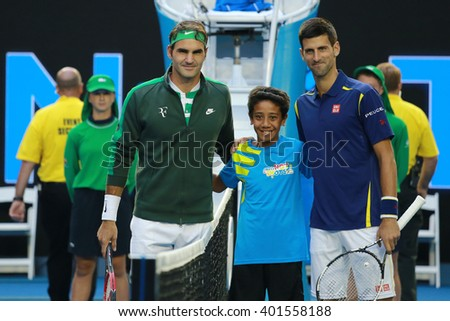 MELBOURNE, AUSTRALIA - JANUARY 28, 2016: Grand Slam champions Roger Federer of Switzerland (L) and Novak Djokovic of Serbia before semifinal match at Australian Open 2016 in Melbourne Park - stock photo