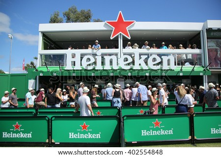 MELBOURNE, AUSTRALIA - JANUARY 23, 2016: Heineken Beer Garden opens on Grand Slam Oval during Australian Open 2016 in Melbourne Park. Heineken is an Australian Open proud sponsor for 20 years - stock photo