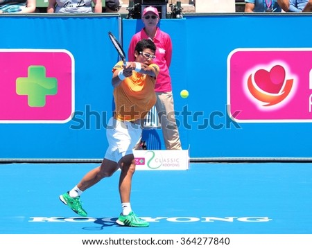 Melbourne, Australia, 2016 January 12: Hyeon Chung of South Korea at an Exhibition and practice match at Kooyong Tennis Club  - stock photo