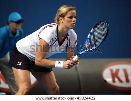 MELBOURNE, AUSTRALIA - JANUARY 22: Kim Clijsters of Belgium during her loss to Nadia Petrova of Russia in the 2010 Australian Open on January 22, 2010 in Melbourne, Australia