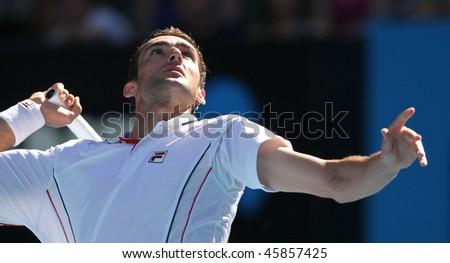 MELBOURNE, AUSTRALIA - JANUARY 26: Marin Cilic of Croatia in his quarter final win over Andy Roddick during the 2010 Australian Open on January 26, 2010 in Melbourne, Australia - stock photo