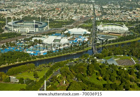 MELBOURNE, AUSTRALIA - JANUARY 28: Melbourne park & surrounding sporting precinct (from the Eureka Sky Deck) the home the Australian Open Tennis Tournament on January 28, 2011 in Melbourne, Australia - stock photo