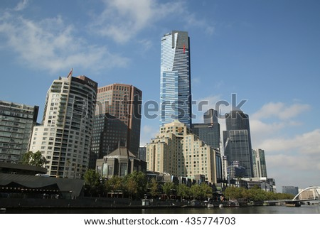 MELBOURNE, AUSTRALIA - JANUARY 25, 2016: Melbourne skyline and Yarra river panorama
