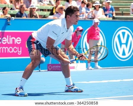 Melbourne, Australia, 2016 January 12: Nicolas Almagro of Spain at an Exhibition and practice match at Kooyong Tennis Club