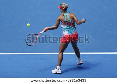 MELBOURNE, AUSTRALIA - JANUARY 25, 2016: Professional tennis player Angelique Kerber of Germany in action during her round 4 match at Australian Open 2016 at Rod Laver Arena in Melbourne Park