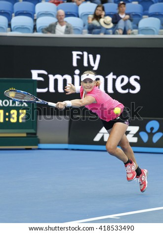 MELBOURNE, AUSTRALIA - JANUARY 25, 2016: Professional tennis player Ekaterina Makarova of Russia in action during her round 4 match at Australian Open 2016 at Rod Laver Arena in Melbourne Park - stock photo