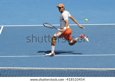 MELBOURNE, AUSTRALIA - JANUARY 25, 2016: Professional tennis player Feliciano Lopez of Spain in action during his round 3 match at Australian Open 2016 at Rod Laver Arena in Melbourne Park