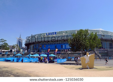 MELBOURNE, AUSTRALIA - JANUARY 29:Rod Laver arena  at Australian tennis center on January, 29,2009 in MELBOURNE, AUSTRALIA. It is the main venue for the Australian Open  tennis championship since 1988 - stock photo
