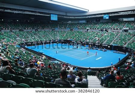 MELBOURNE, AUSTRALIA - JANUARY 31, 2016: Rod Laver arena during Australian Open 2016 match at Australian tennis center in Melbourne Park. It is the main venue for the Australian Open since 1988  - stock photo