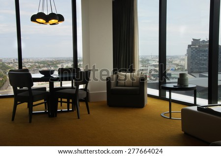 Melbourne,Australia- January 1,2015:Room interior in  Crown Metropol Hotel. Crown Metropol is luxurious complex in center of Melbourne city,Australia - stock photo