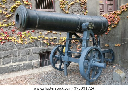 MELBOURNE, AUSTRALIA - JANUARY 27, 2016: Russian cannon captured by British army in Crimea in the front of Victoria Barracks in Melbourne, Australia.
