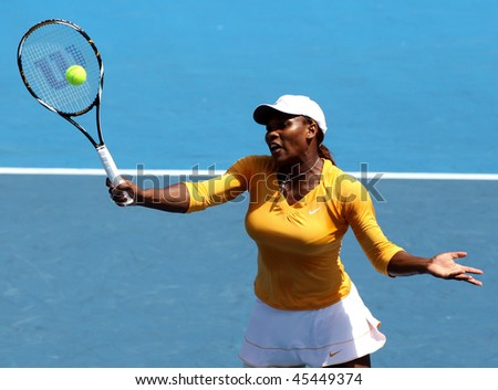 MELBOURNE, AUSTRALIA - JANUARY 26: Serena Williams in action at the 2010 Australian Open on January 26, 2010 in Melbourne, Australia