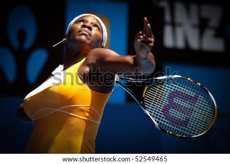 MELBOURNE, AUSTRALIA - JANUARY 23: Serena Williams on her way to the 2010 Australian Open title. January 23, 2010 in Melbourne, Australia - stock photo