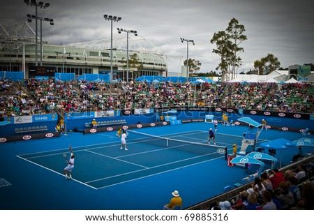 MELBOURNE, AUSTRALIA - JANUARY 26: Show Court Arena number 3 next to Rod Laver Arena which holds the center court at the Australian Open, January 26, 2011 in Melbourne, Australia - stock photo
