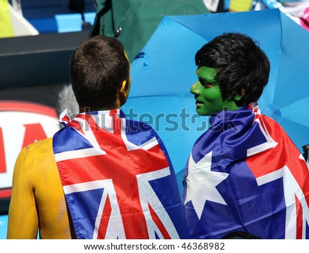MELBOURNE, AUSTRALIA - JANUARY 26: Tennis fans at the Australian Open January 26, 2010 in Melbourne, Australia - stock photo