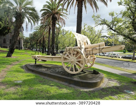 MELBOURNE, AUSTRALIA - JANUARY 27, 2016: Turkish 5.9 Inch Howitzer captured by the Australian Mounted Division in the front of Victoria Barracks in Melbourne, Australia.