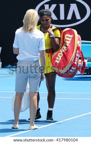 MELBOURNE, AUSTRALIA - JANUARY 26, 2016: Twenty one times Grand Slam champion Serena Williams during interview after her quarter final match at Australian Open 2016 in Melbourne Park - stock photo