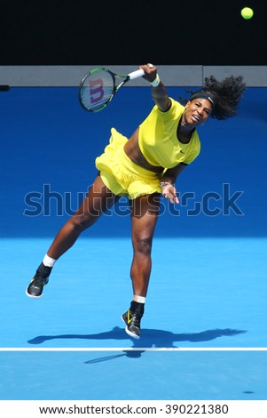 MELBOURNE, AUSTRALIA - JANUARY 26, 2016: Twenty one times Grand Slam champion Serena Williams in action during her quarter final match at Australian Open 2016 at Australian tennis center in Melbourne  - stock photo