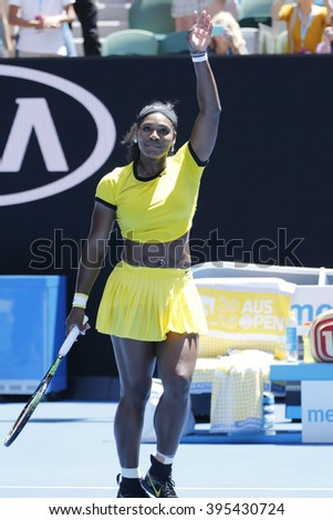 MELBOURNE, AUSTRALIA - JANUARY 24, 2016: Twenty one times Grand Slam champion Serena Williams in action during her round 4 match at Australian Open 2016 at Rod Laver Arena in Melbourne - stock photo