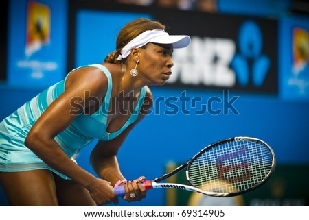 MELBOURNE, AUSTRALIA - JANUARY 17: 2011  Venus Williams(USA)[4]	defeats Sara Errani(ITA) at the Australian Open on January 17, 2011 in Melbourne, Australia - stock photo