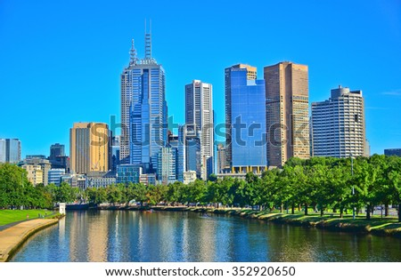 Melbourne, Australia - January 21, 2015: View of Melbourne skyline and Yarra River in summer in Melbourne on January 21, 2015.