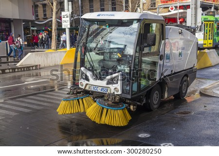 Melbourne, Australia - Jul 26, 2015: Street sweeper used for street cleaning services in Melbourne, Australia