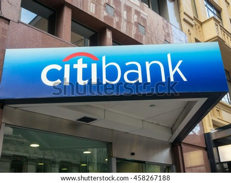 Melbourne, Australia - July 23, 2016: Citibank is an American multinational bank, part of Citigroup.  This branch is on Collins Street in Melbourne.