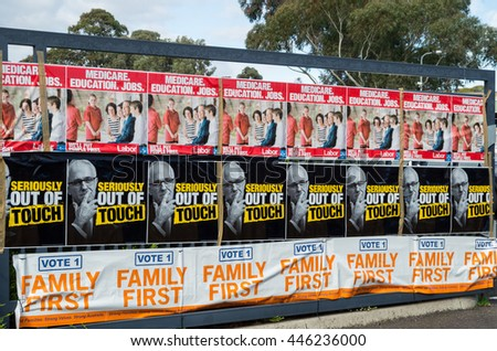 Melbourne, Australia - July 2, 2016: posters of the Family First and Australian Labor Party parties outside a polling place at Mullauna College in the electorate of Deakin on federal election day.