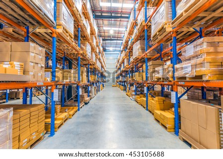Melbourne, Australia - July 1st, 2016:Interior of warehouse. A warehouse is a commercial building for storage of goods.