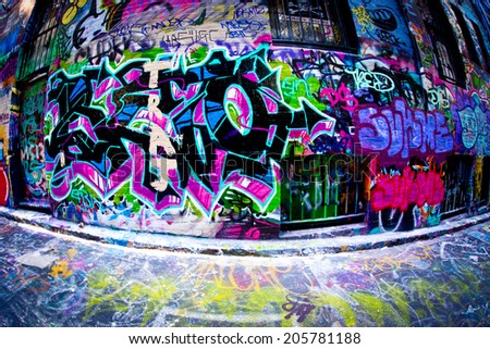 MELBOURNE, AUSTRALIA - JULY 3 2014: Street art by unidentified artist. Melbourne's graffiti management plan recognises the importance of street art in a vibrant urban culture - stock photo