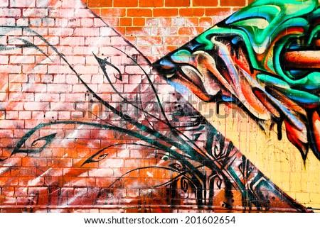 MELBOURNE, AUSTRALIA - JUNE 28 2014: Street art by unidentified artist. Melbourne's graffiti management plan recognises the importance of street art in a vibrant urban culture - stock photo