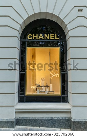 MELBOURNE, AUSTRALIA - MAR 19: Chanel window display on Mar 19, 2015 in Melbourne. Chanel is a high fashion house, specializes in clothes, luxury goods and fashion accessories.