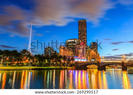 MELBOURNE, AUSTRALIA - MAR 18: Cityscape of Melbourne at twilight on Mar 18, 2015 in Melbourne. It's the capital and most populous city in Victoria, and the second most populous city in Australia.
