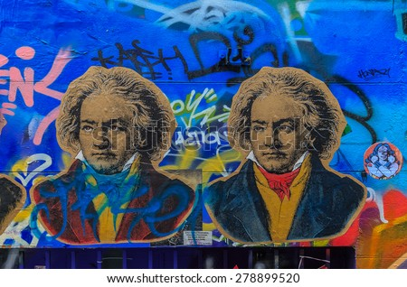 MELBOURNE, AUSTRALIA - MAR 19: Graffiti at Hosier Lane on Mar 19, 2015 in Melbourne. It's one of the tourist attraction which is the ever-changing graffiti on the walls of Hosier Lane. - stock photo