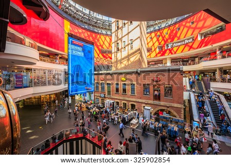 MELBOURNE, AUSTRALIA - MAR 20: Interior of Melbourne Central Shopping Centre on Mar 20, 2015 in Melbourne. It's a large shopping centre, office, and public transport hub in Melbourne, Australia. - stock photo