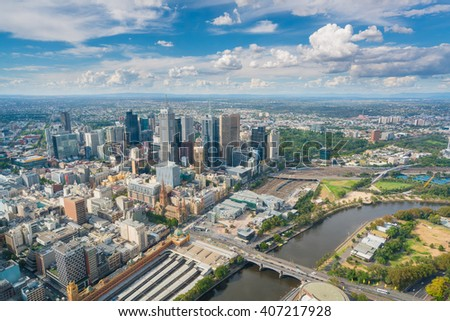 Melbourne, Australia - Mar 17, 2016: View of modern buildings in Melbourne CBD in daytime