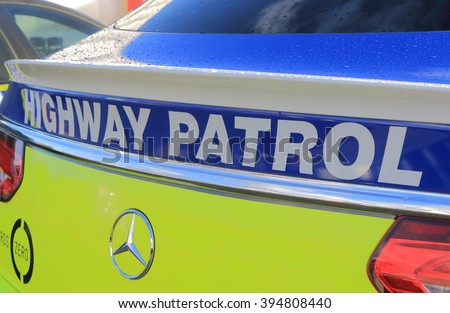 MELBOURNE AUSTRALIA - MARCH 18, 2016: Australian Police Highway patrol car. Australian Police is responsible for safety of Australian residence.   - stock photo