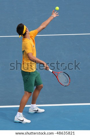 MELBOURNE, AUSTRALIA - MARCH 7: Bernard Tomic of Australia in his win over Hsin-Han Lee of Chinese Taipei in their Davis Cup tie on March 7, 2010 in Melbourne, Australia