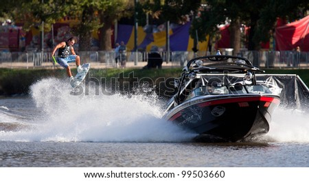MELBOURNE, AUSTRALIA - MARCH 12: Bradley Teunissen in the wakeboard  event at the Moomba Masters on March 12, 2012 in Melbourne, Australia - stock photo