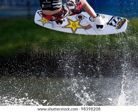 MELBOURNE, AUSTRALIA - MARCH 12: Closeup of action from the wakeboarding event at the Moomba Masters on March 12, 2012 in Melbourne, Australia - stock photo