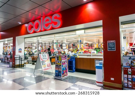 MELBOURNE, AUSTRALIA - March 25, 2015: Coles operates more than 700 supermarkets throughout Australia, such as this store in Box Hill. Coles is owned by Wesfarmers. - stock photo