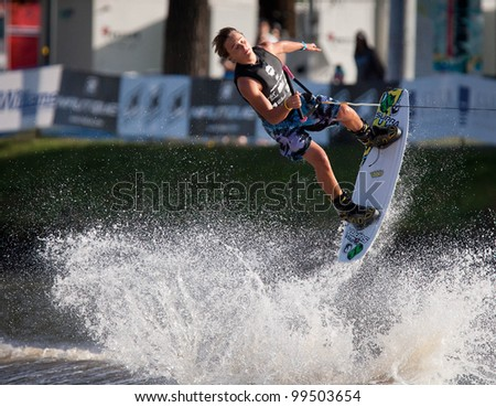MELBOURNE, AUSTRALIA - MARCH 12: Corey Teunissen in the wakeboard event at the Moomba Masters on March 12, 2012 in Melbourne, Australia - stock photo