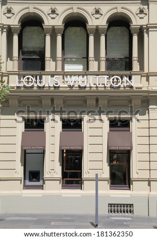MELBOURNE AUSTRALIA - March 8, 2014: Louis Vutton shop on Collins Street - Louis Vutton is a French fashion house founded in 1854 by Louis Vuitton  - stock photo