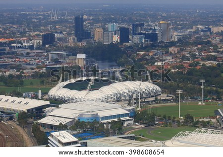 MELBOURNE AUSTRALIA - MARCH 13, 2016: Melbourne cityscape over AAMI rectangular stadium in Australia  - stock photo