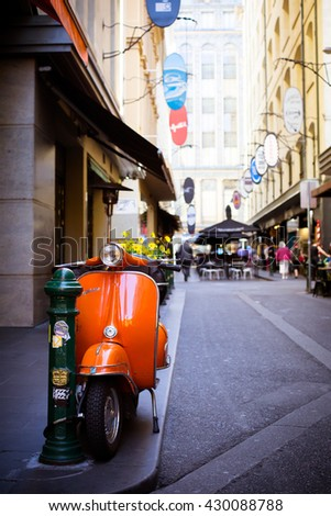Melbourne, Australia - March 22, 2016: Melbourne's famous Degraves St with motorcycle