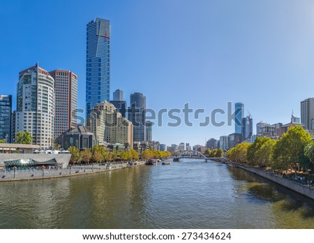 MELBOURNE, AUSTRALIA - MARCH 21, 2015: Panoramic view of Yarra river flowing thru the city on the beautiful sunny day. - stock photo