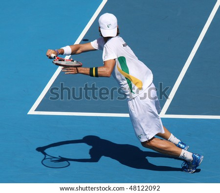 MELBOURNE, AUSTRALIA - MARCH 7: Peter Luczak of Australia in his win over Tsung-Hua Yang of Chinese Taipei  in their Davis Cup tie on March 6, 2010 in Melbourne, Australia - stock photo